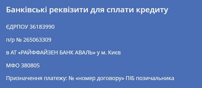 реквизиты оплаты кредита верокеш Украина, как взять деньги в кредит
