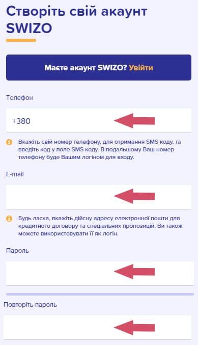 инструкция как получить займ в swizo кредит Украина
